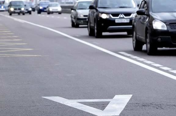 Изображение разметки на дороге в Москве