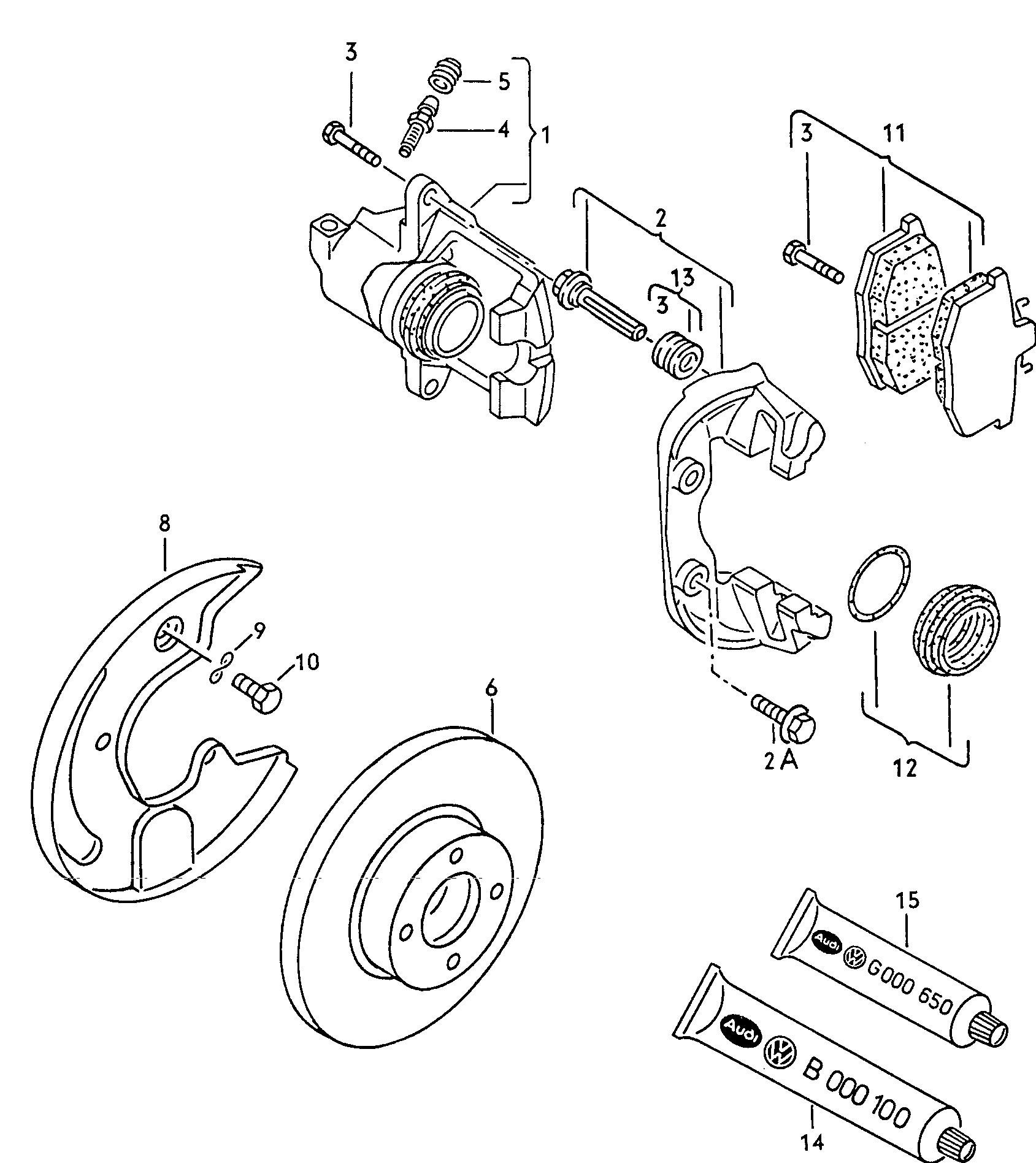 схема заднего суппорта ауди б4
