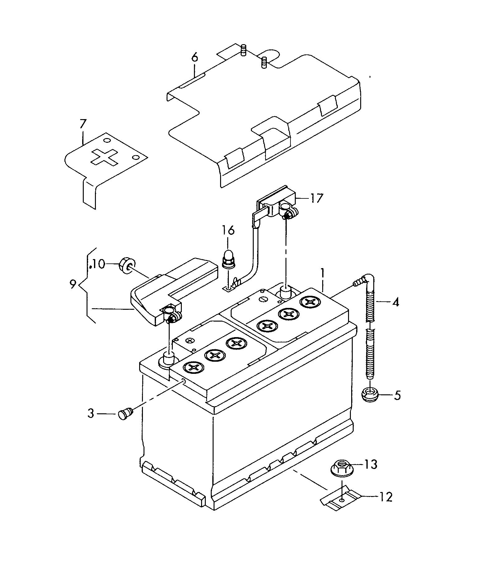 Схема крепления оригинального аккумулятора на Ауди Q5