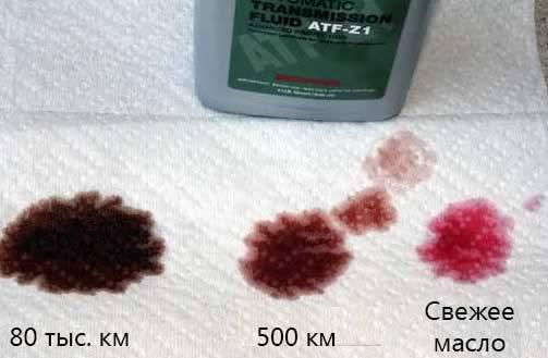 Проверка цвета масла акпп при разном пробеге
